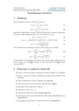 Transformata Fouriera 1 Definicje 2 Polecenia w pakiecie