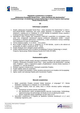 """Regulamin uczestnictwa w projekcie """"Zdobywamy"""