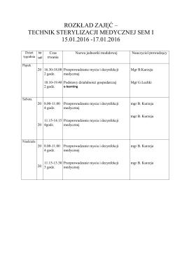 technik sterylizacji medycznej sem i 15.01.2016