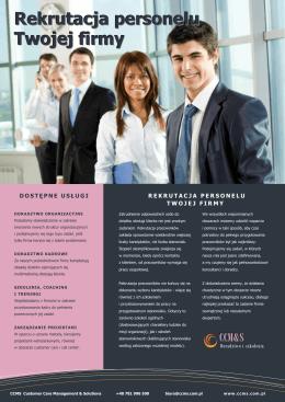 Rekrutacja personelu Twojej firmy