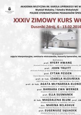 Duszniki 2016 - afisz - Polskie Stowarzyszenie Pedagogów Śpiewu