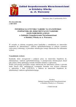 [23-10-2015] informacja o wyniku naboru