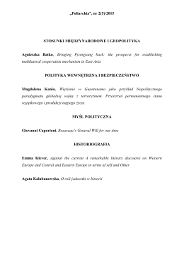 """""""Poliarchia"""", nr 2(5)/2015 STOSUNKI MIĘDZYNARODOWE I"""