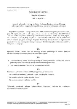 ZARZĄDZENIE NR 37/2015 Burmistrza Łochowa z
