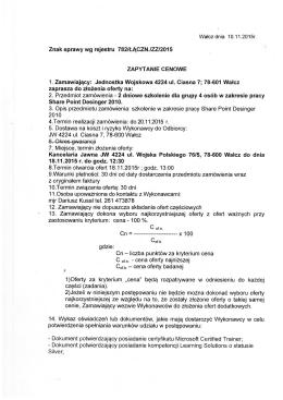 Znak sprawy wg rejestru 782/ŁĄCZN./ZZ/2015 ZAPYTANIE