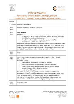 CYFROWE WYZWANIA Kompetencje cyfrowe: badania, strategie