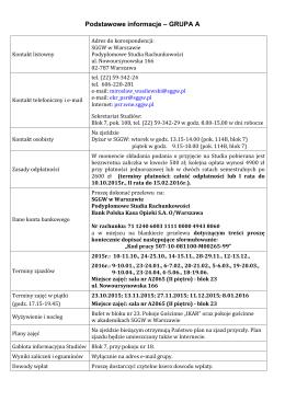 Informacje podstawowe-A - Podyplomowe Studia Rachunkowości