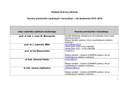 Terminy seminariów i konsultacji