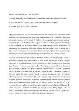 Pęcherz moczowy olbrzymi – opis przypadku Adrianna Kondracka