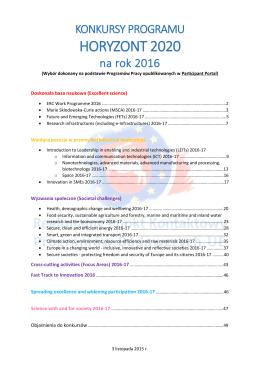 HORYZONT 2020 - Regionalny Punkt Kontaktowy Programów