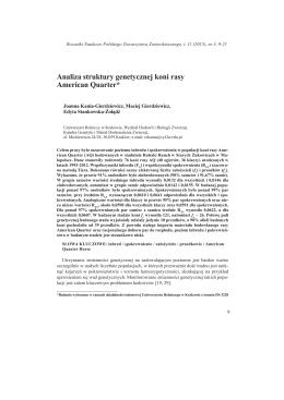 Analiza struktury genetycznej koni rasy American Quarter