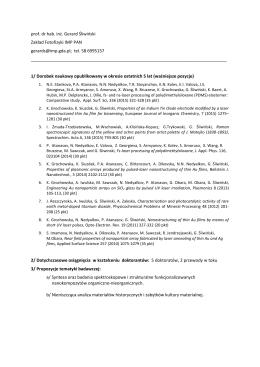 prof. dr hab. inż. Gerard Śliwiński Zakład Fotofizyki IMP PAN gerards