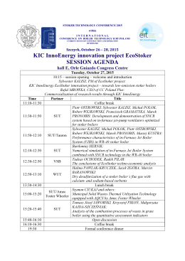 KIC InnoEnergy innovation project EcoStoker SESSION AGENDA