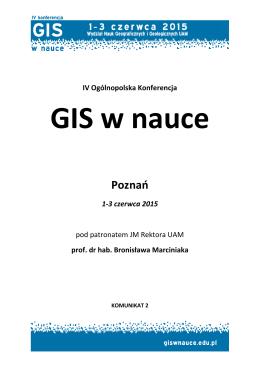 """""""GIS w nauce"""". Poznań, 01-03 czerwca 2015 r."""