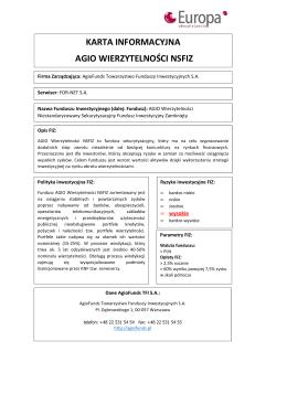 AGIO Wierzytelności NSFIZ - karta informacyjna