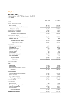 ČEZ, a. s. BALANCE SHEET in accordance with IFRS as of June 30