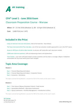 CFA® Level 1 - June 2016 Exam Classroom