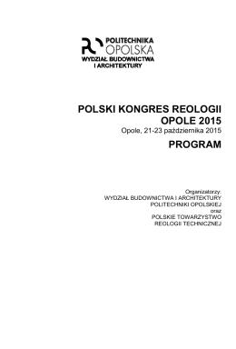 Szczegółowy program - Kongres Reologiczny
