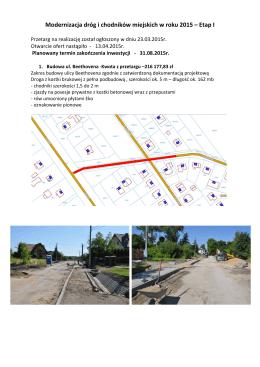 Modernizacja dróg i chodników miejskich w roku 2015 – Etap I.