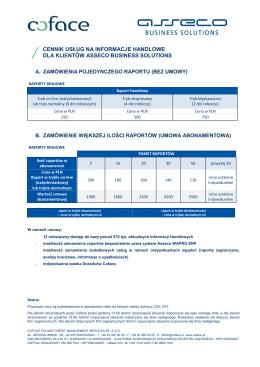 cennik usług na informacje handlowe dla klientów asseco business