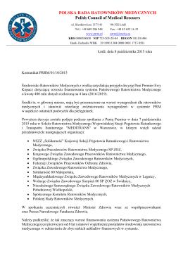 Komunikat Polskiej Rady Ratowników Medycznych