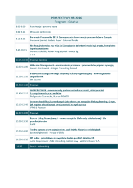 PERSPEKTYWY HR 2016 Program - Gdańsk