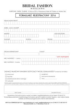 Formularz rejestarcyjny do wydrukowania