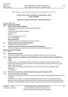 Polska-Szczecin: Studia wykonalności, usługi doradcze, analizy