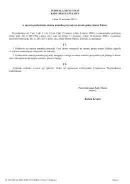 Uchwala Nr XV/115/15 z dnia 24 wrzesnia 2015 r.