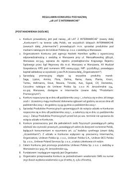 "REGULAMIN KONKURSU POD NAZWĄ ""18 LAT Z INTERMARCHE"
