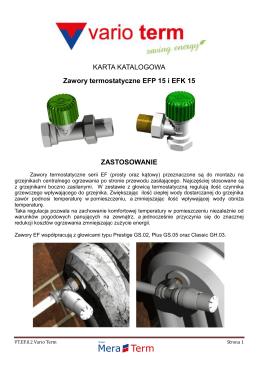 KARTA KATALOGOWA Zawory termostatyczne EFP 15