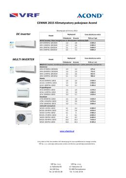 Kopia Cennik VRF 2015 - klimatyzatory Acond (Mati)