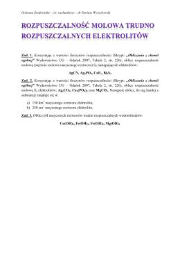 Zad. 1. Korzystając z wartości iloczynów rozpuszczalności (Skrypt