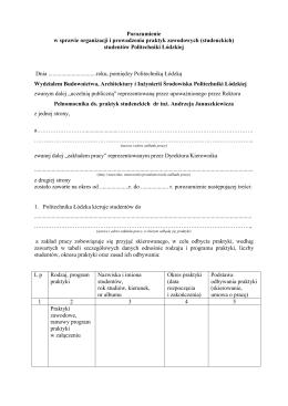 Zał. 5 porozumienie - Wydział Budownictwa, Architektury i Inżynierii
