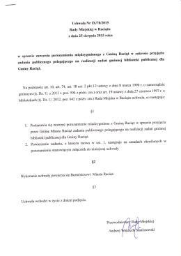 Uchwala NrDU78/2015 Rady Miejskiej w Raciążu w sprawie