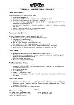 PRZEMYSŁ SPOŻYWCZY - Pharmacon Consulting