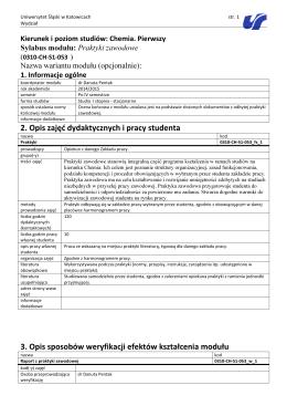 2. Opis zajęć dydaktycznych i pracy studenta 3. Opis sposobów
