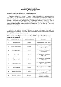 Zarządzenie Nr 24.2015 Burmistrza Miasta i Gminy Pilawa z dnia 20