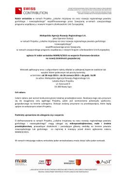 Ogłoszenie o IV naborze 2015 SPPW
