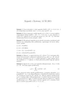 Sygnały i Systemy, 12 XI 2015