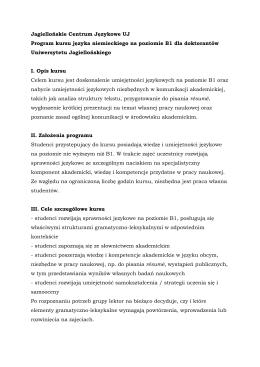 Jagiellońskie Centrum Językowe UJ Program kursu języka