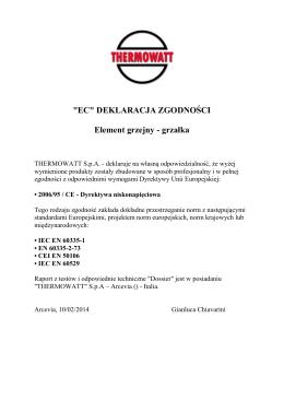 """""""EC"""" DEKLARACJA ZGODNOŚCI Element grzejny - grzałka"""