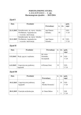 I rok Harmonogram zjazdów – 2015/2016 Zjazd I Zjazd II Zjazd III
