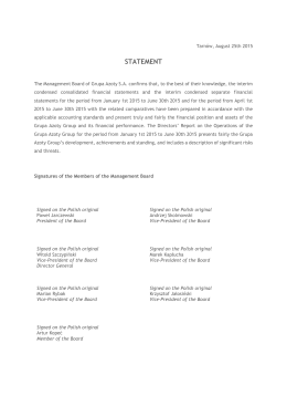 Statements of the Management Board H1 2015
