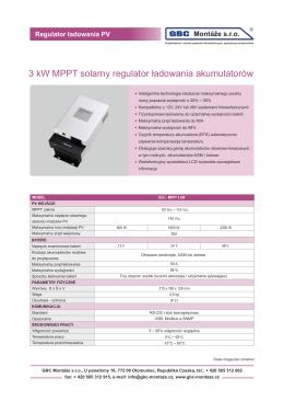 Solarny regulator ładowania SCC MPPT 3000 W