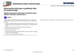 Modyfikacje układu wydechowego Ograniczenia dotyczące