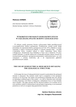 zareba-mateusz - Koło Naukowe Geofizyków AGH GEOFON