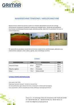 Oferta nawierzchnie tenisowe