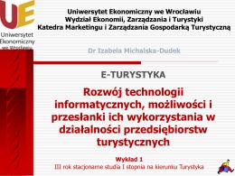 e- turystyki - Dr Izabela Michalska