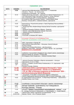 12.00 13.30 15 Zarząd Oddziału- przeniesiony na 4 listopada br
